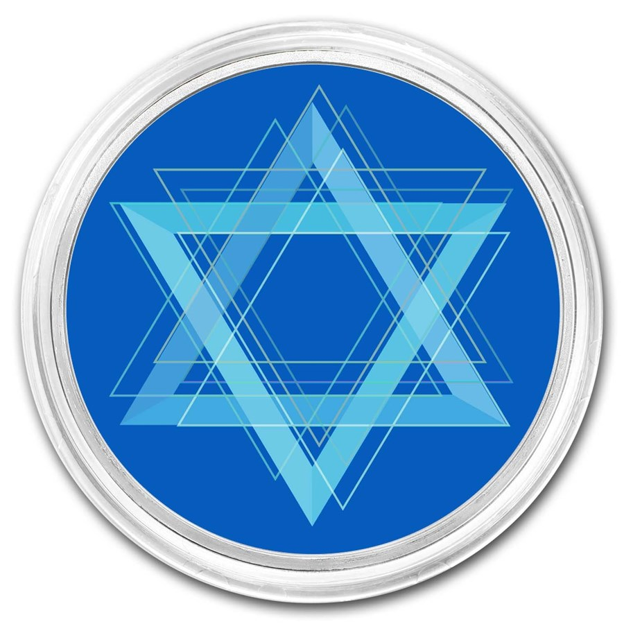 1 oz Silver Star of David Colorized Round