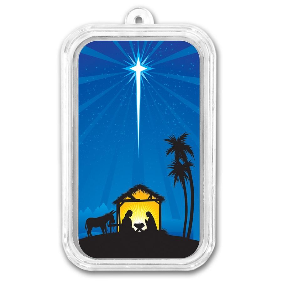 1 oz Silver Nativity of Jesus Colorized Bar