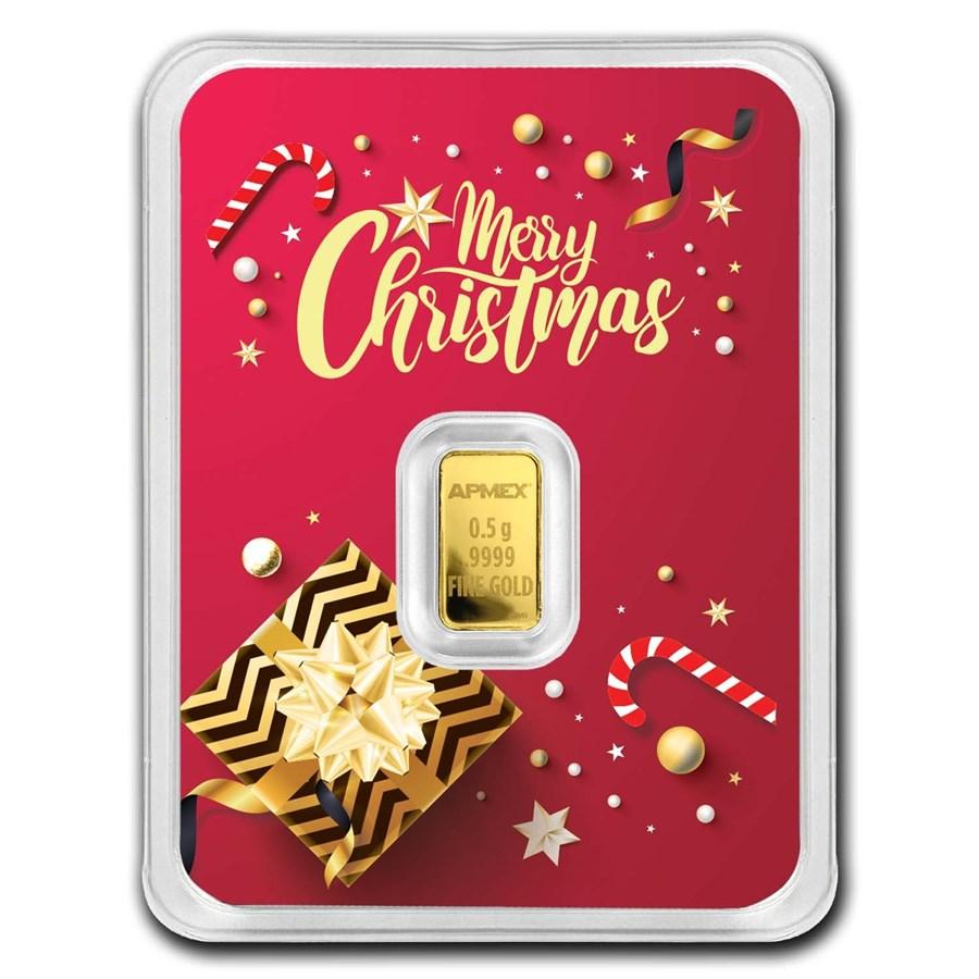 1/2 gram Merry Christmas Gold Bar