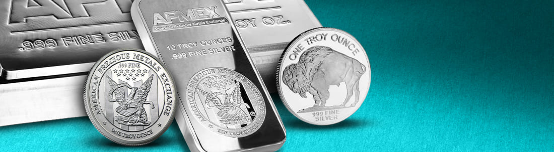 Silver bullion bars and rounds