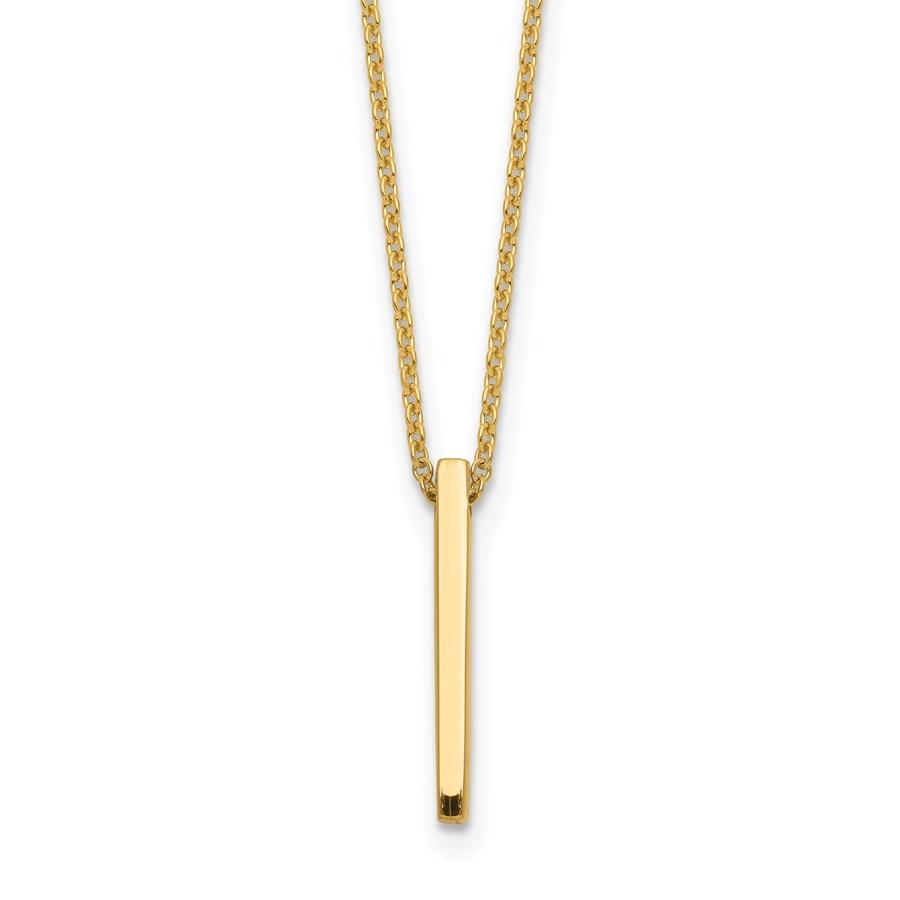 14K Gold Polished Bar Necklace