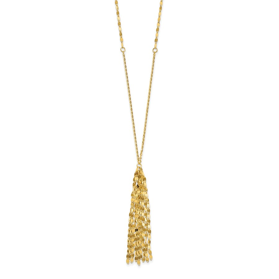14K Gold Polished Fancy With 2 Inch drop Necklace