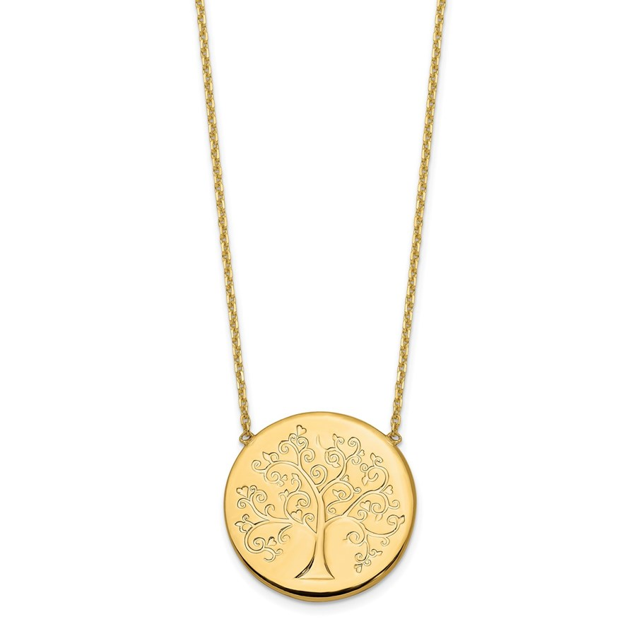 14K Gold Polished Tree of Life Necklace