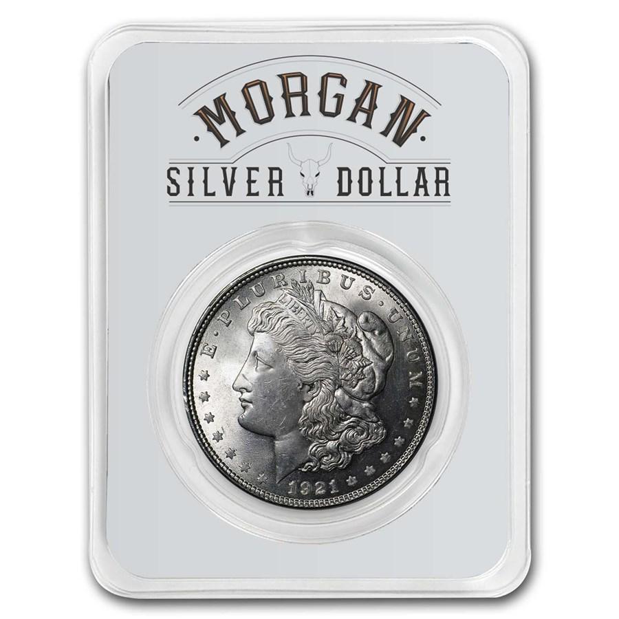1921 Morgan Silver Dollar Long Horn Card BU
