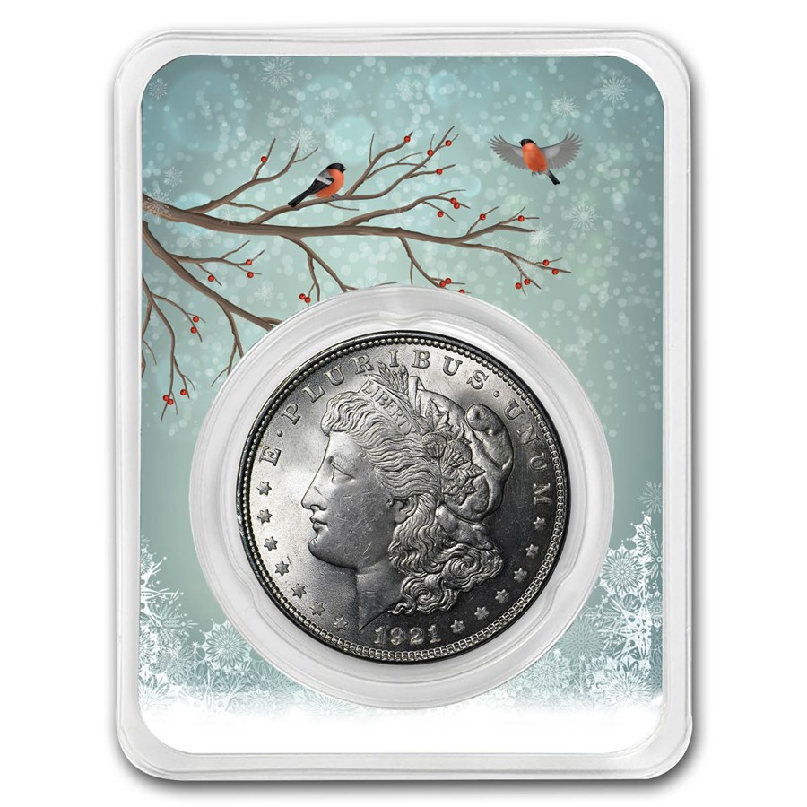 1921 Morgan Silver Dollar Snowy Birds Card BU