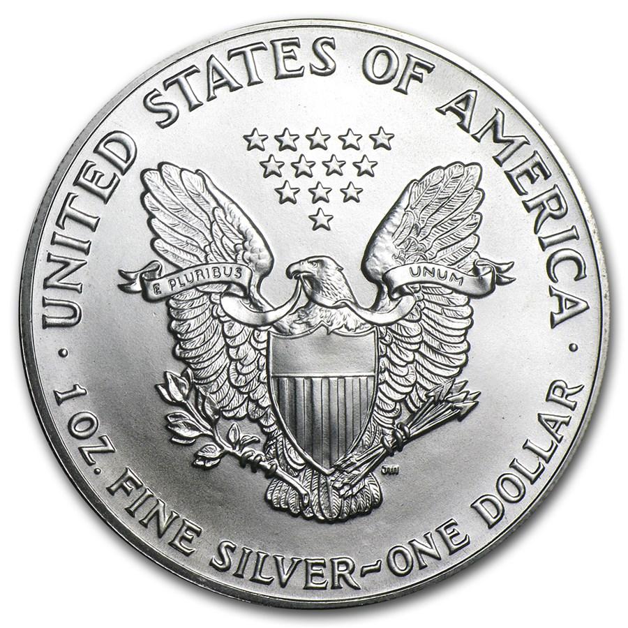 1986 1 OZ AMERICAN SILVER EAGLE BU REVERSE