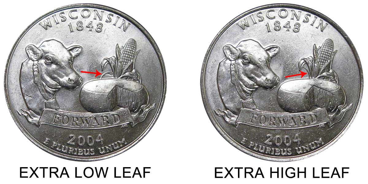 2004-D Wisconsin State Quarter with Extra Leaf