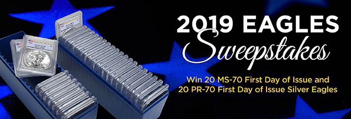 2019 Eagles Sweepstakes - MS-70 First Date of Issue