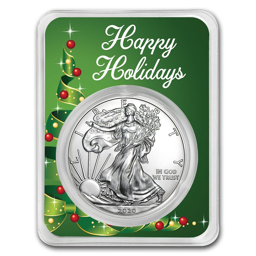 2020 1 oz Silver American Eagle - Happy Holidays (Ribbon Tree)