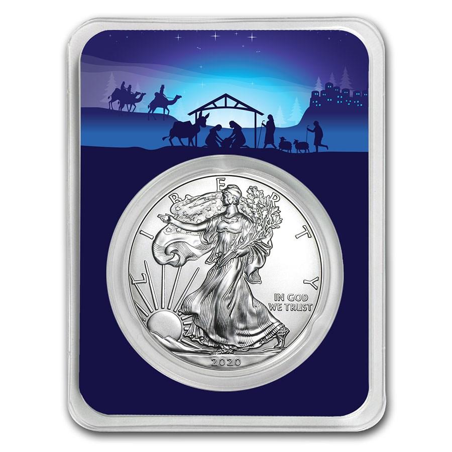 2020 1 oz Starry Night Nativity Scene Silver American Eagle