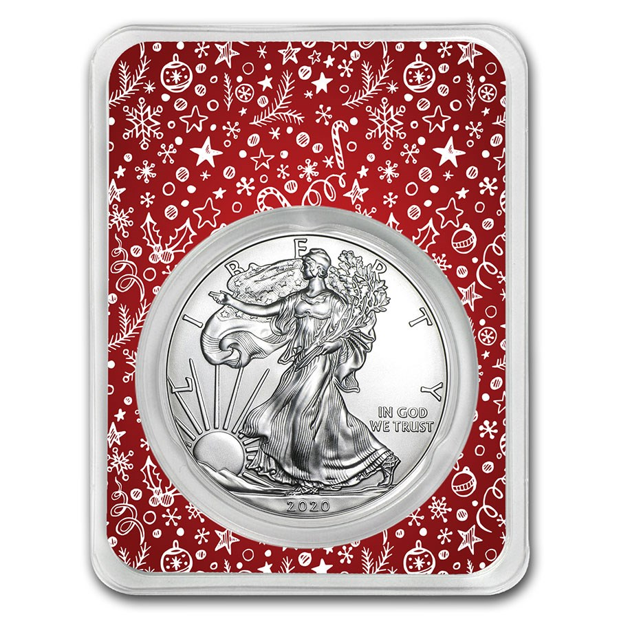 2020 1 oz Silver American Eagle - Winter Holiday Themed (Red)
