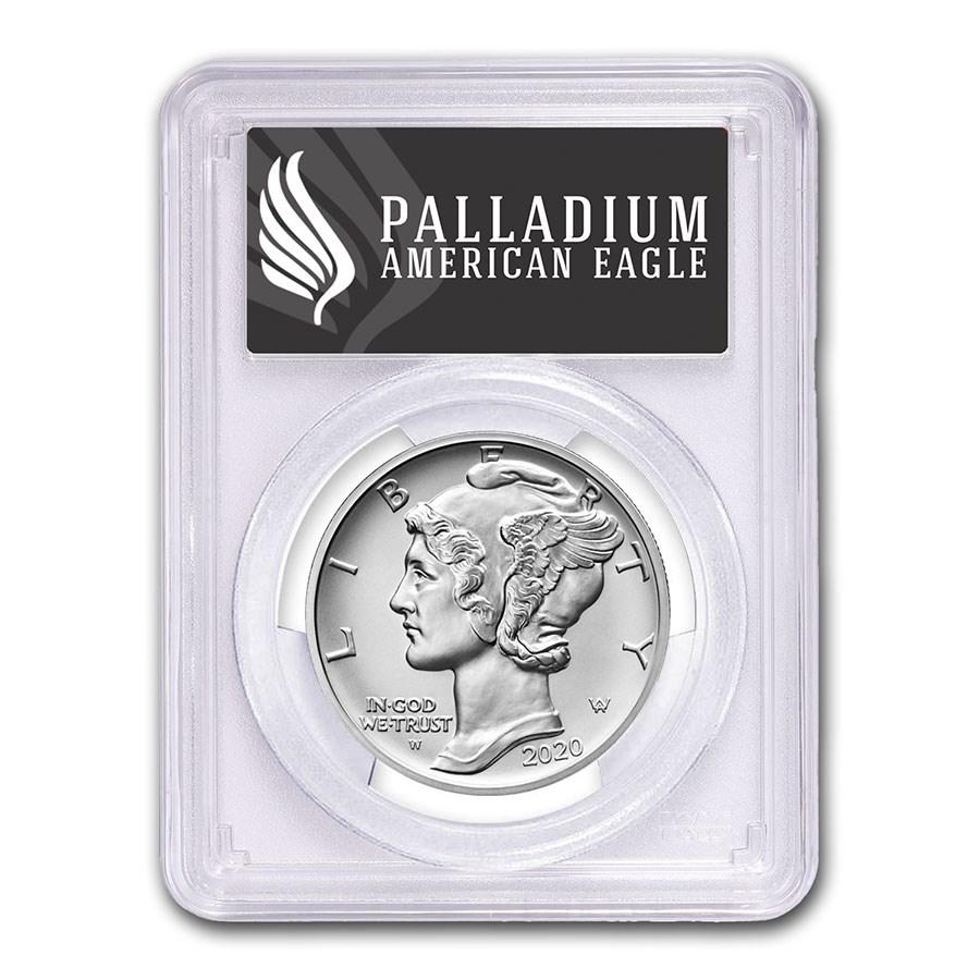 2020-W Burnished Palladium Eagle SP-70 PCGS (FS, Black Label)