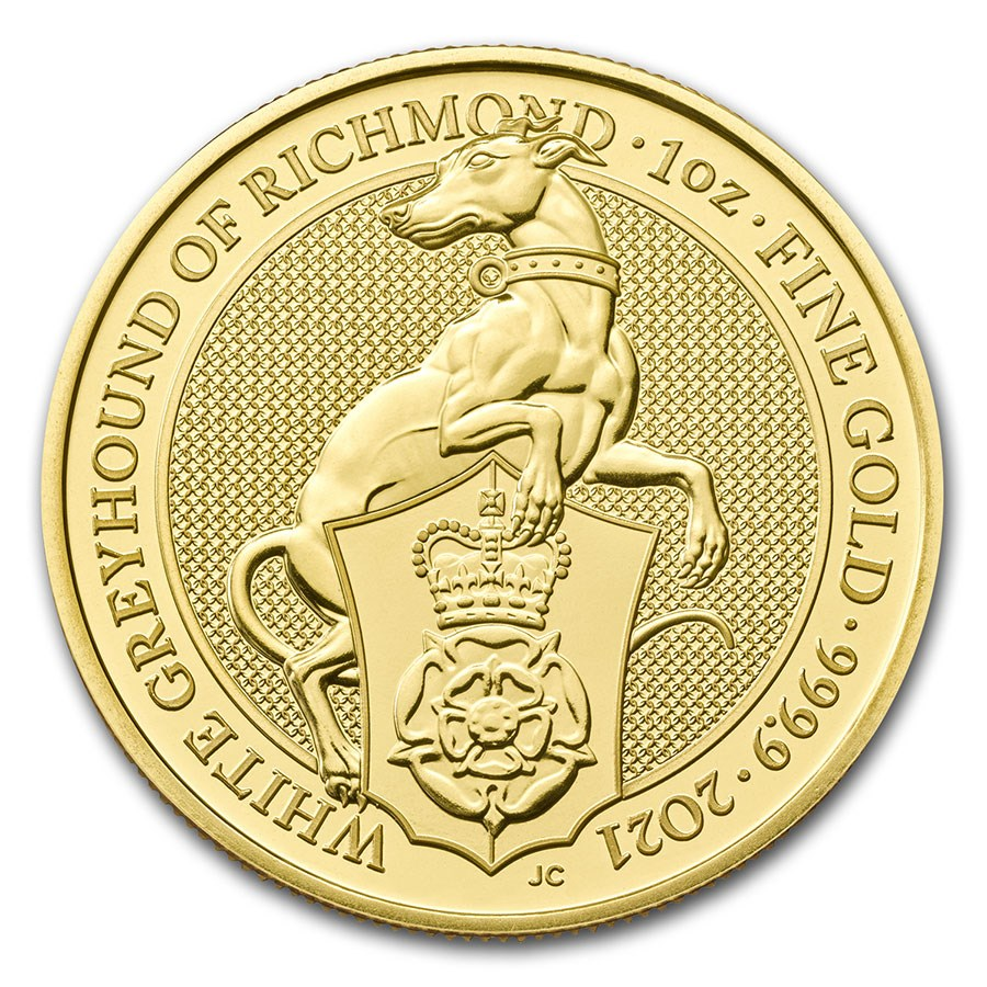 2021 Great Britain 1 oz Gold Queen's Beasts The White Greyhound