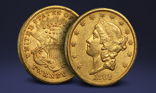 1869 $20 Gold Double Eagle