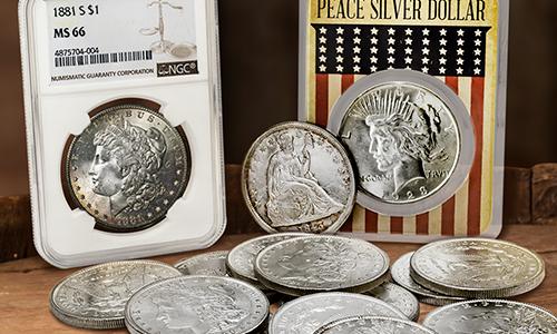 Morgan and Peace Silver Dollars