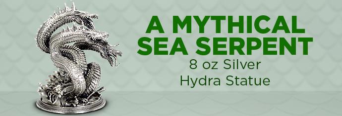 8 Ounce Silver Hydra Statue