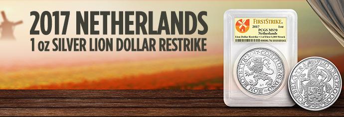 2017 Netherlands 1 Ounce Silver Lion Dollar Restrike