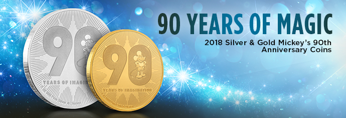 2018 Silver and Gold Mickey Mouse 90th Anniversary Coin