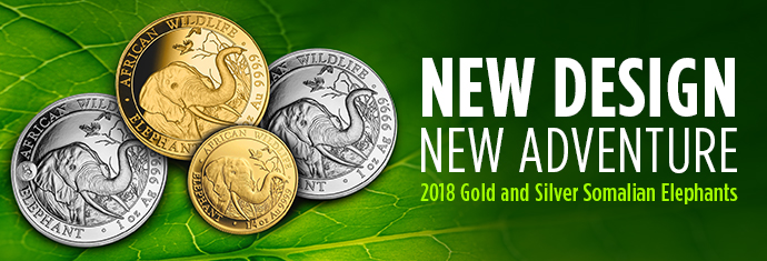 2018 Gold and Silver Somalian Elephants