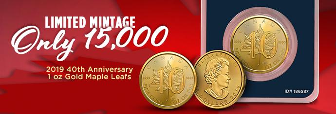 2019 40th Anniversary 1 oz Gold Maple Leafs