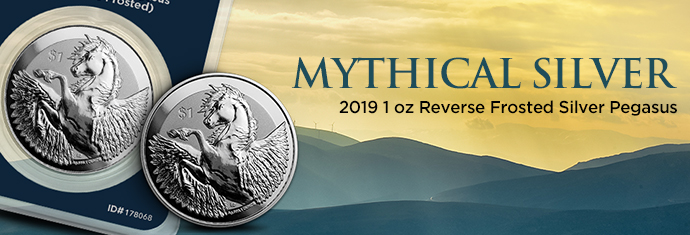 2019 1 oz Reverse Frosted Silver Pegasus