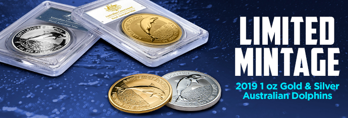 Limited Mintage Gold and Silver Dolphins