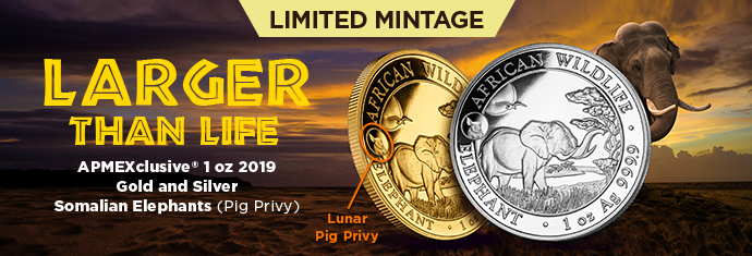 2019 Silver and Gold Elephants with Pig Privy