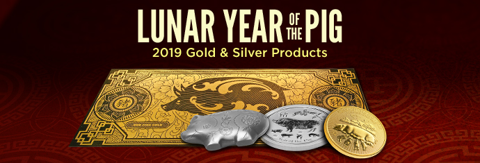 2019 Lunar Year of the Pig Gold and Silver