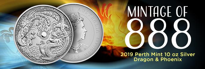 2019 Perth Mint 10 oz Silver Dragon and Phoenix