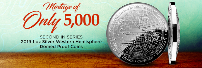 2019 1 oz Silver Western Hemisphere Domed Coin