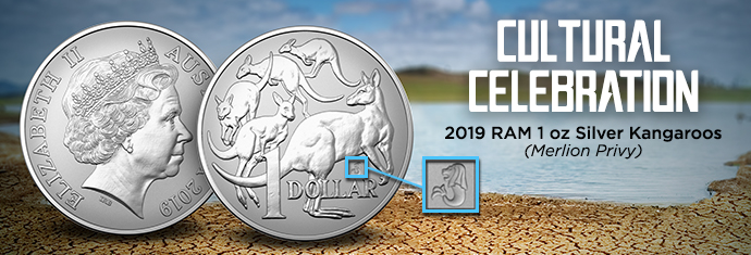 Royal Australian Mint Silver Kangaroo Merlion Privy
