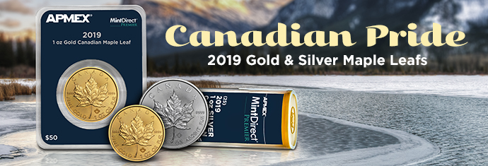 2019 Silver Maple Leafs and 2019 Gold Maple Leaf Coins