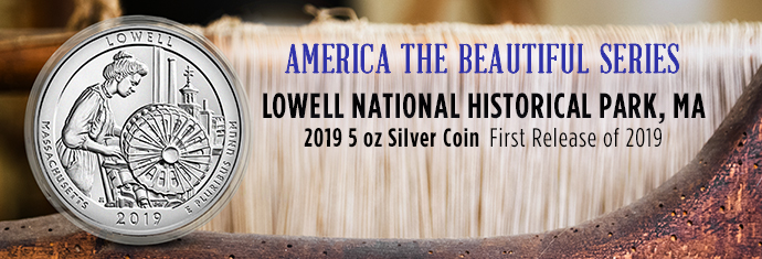 Silver ATB Coin - 2019 5 oz Silver Coin - Lowell National Historical Park