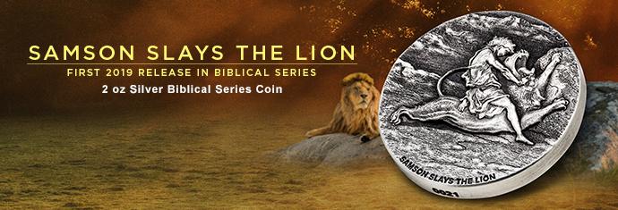 Samson Slays the Lion - 2 oz Silver Biblical Series Coin