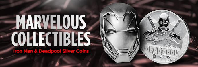 Marvel Coins - Iron Man and Deadpool Silver Coins