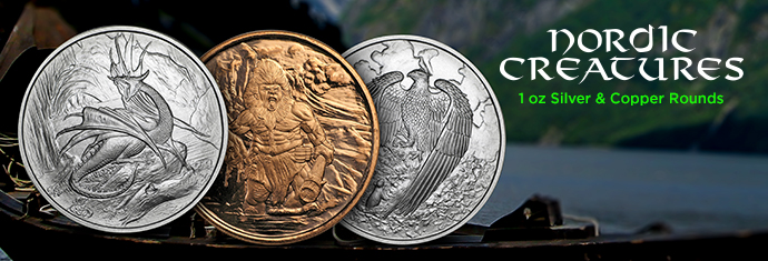 Nordic Creatures Series Silver and Copper Rounds