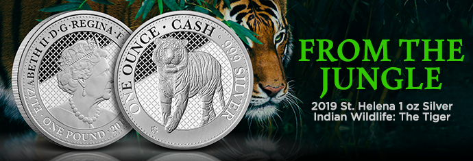 2019 St. Helena 1 oz Silver Indian Wildlife The Tiger
