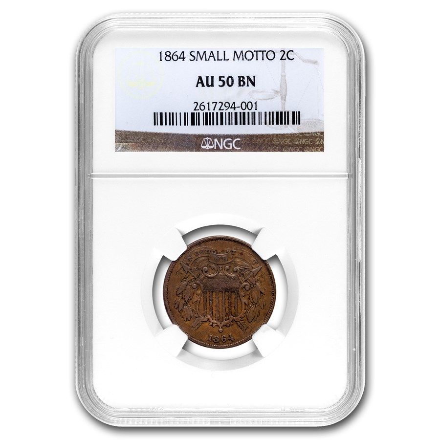 1864 Two Cent Piece Small Motto AU-50 NGC