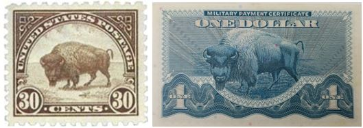1923 30-cent U.S. Postage Stamp and the Series 692 $1 Military Payment Certificate