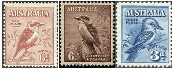 1Australian Stamps depicting the kookaburra throughout their history