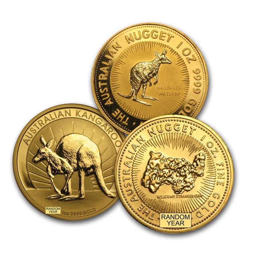 Australia 1 oz Gold Kangaroo/Nugget Coin BU (Random Year)