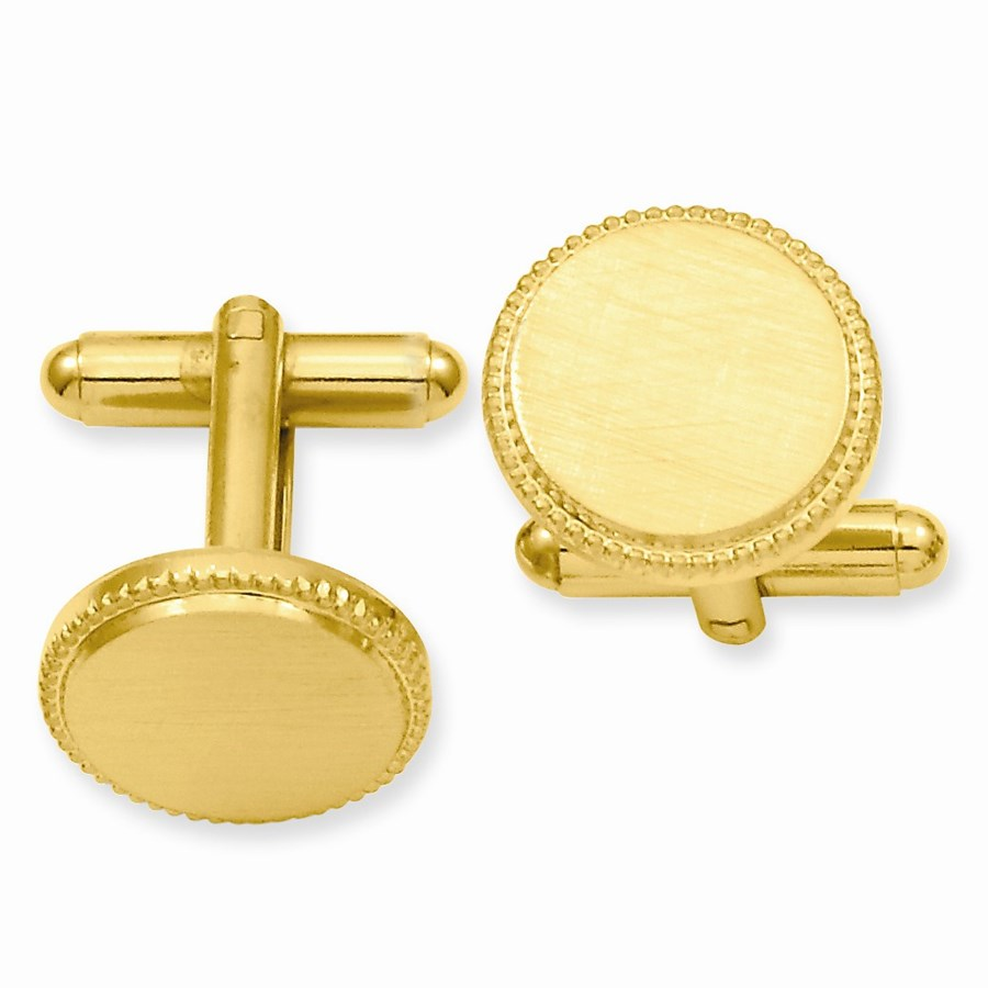 Gold-Plated Florentine Round Beaded Cuff Links
