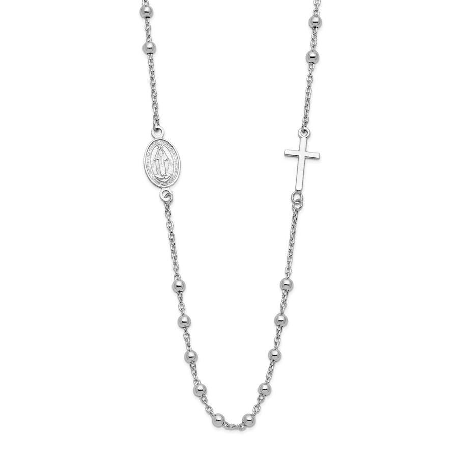 Sterling Silver Rhod-Plated Cross Necklace