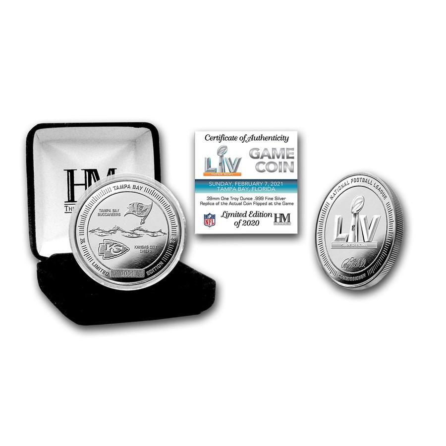 Super Bowl LV NFL 1 oz Silver Flip Coin - Buccaneers vs. Chiefs