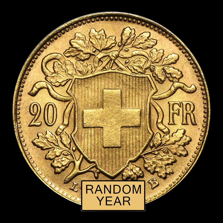 Swiss Gold 20 Francs Helvetia Coin AU (Random Year)