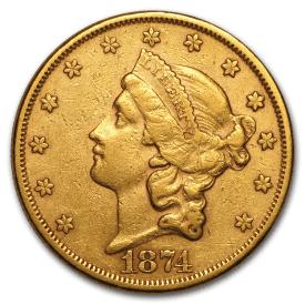 1874 $20 Liberty Gold Double Eagle