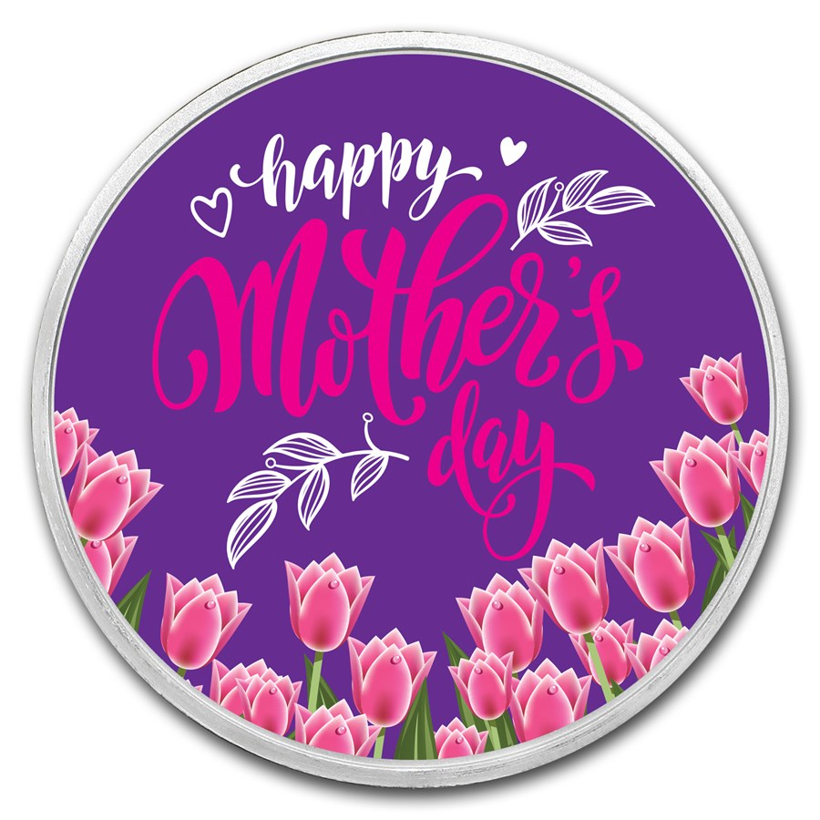 1 oz Silver Mother's Day Tulips Colorized Round