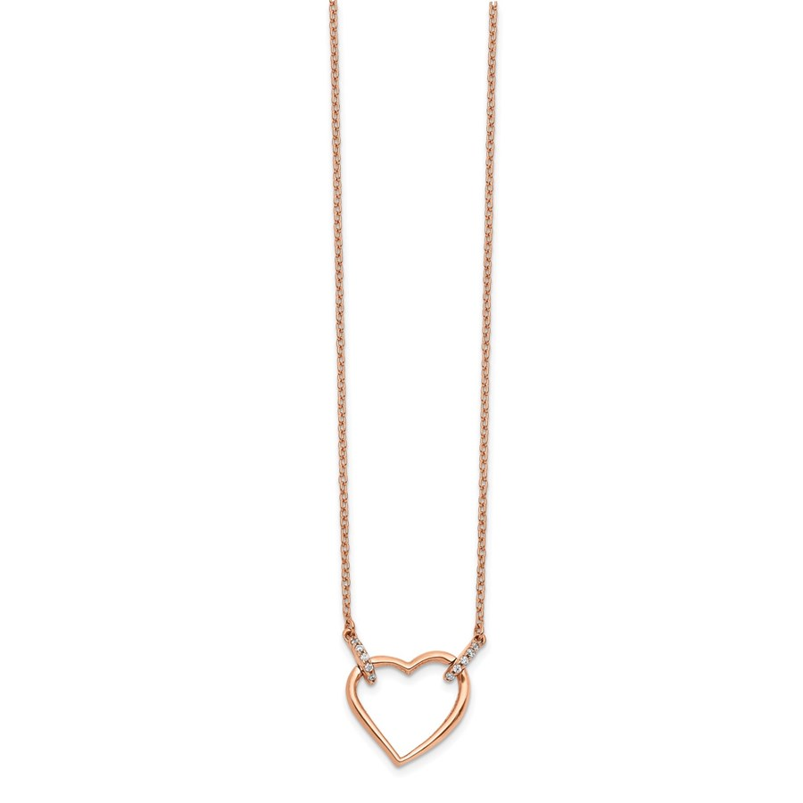 14K Rose Gold Diamond Heart 18 inch Necklace