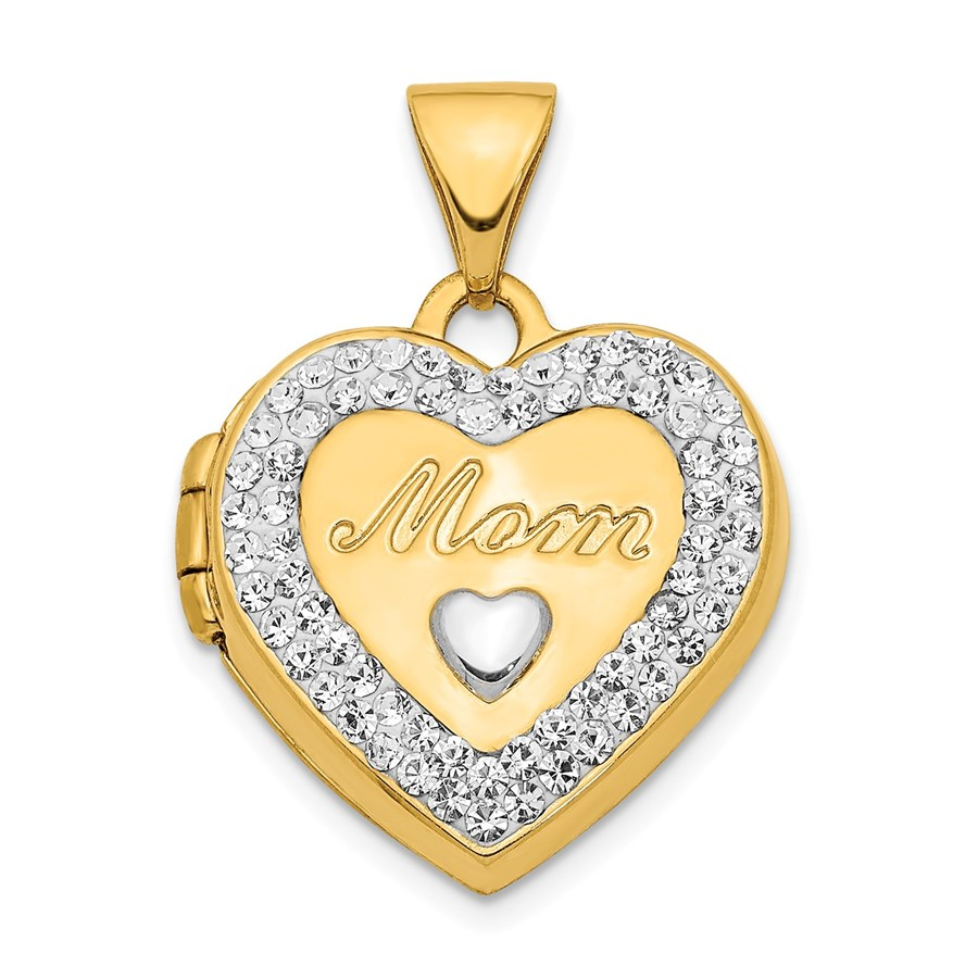 14k White Rhodium Crystal Mom Heart Locket Pendant