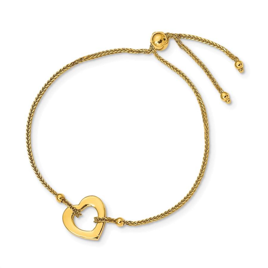 14k Yellow Gold Heart Adjustable Bracelet